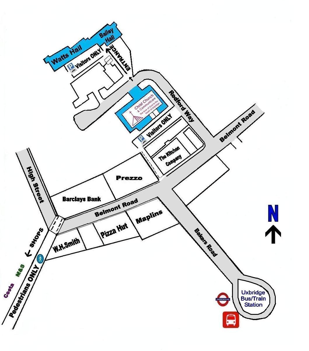 How to find Christ Church, Uxbridge