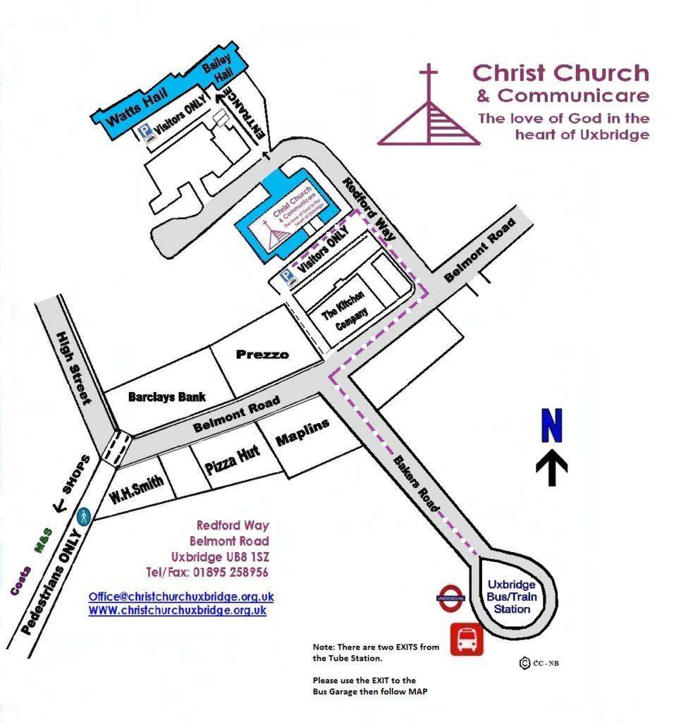 A map showing the shops on Belmont Road and where Redford Way and Christ Church is in relation to the shops and the bus/train station