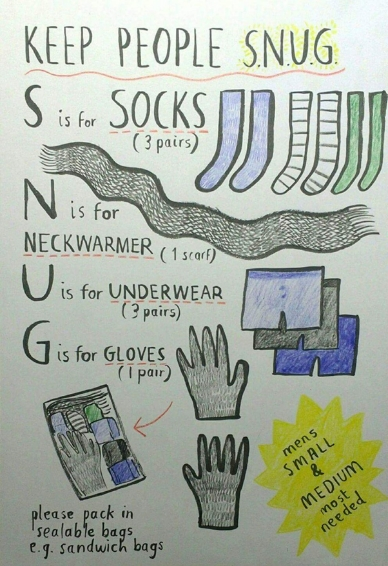 Keep People Snug. S = socks (3 pairs); N = neck-warmer (1 scarf), U = underwear (3 pairs); G = gloves (1 pair)