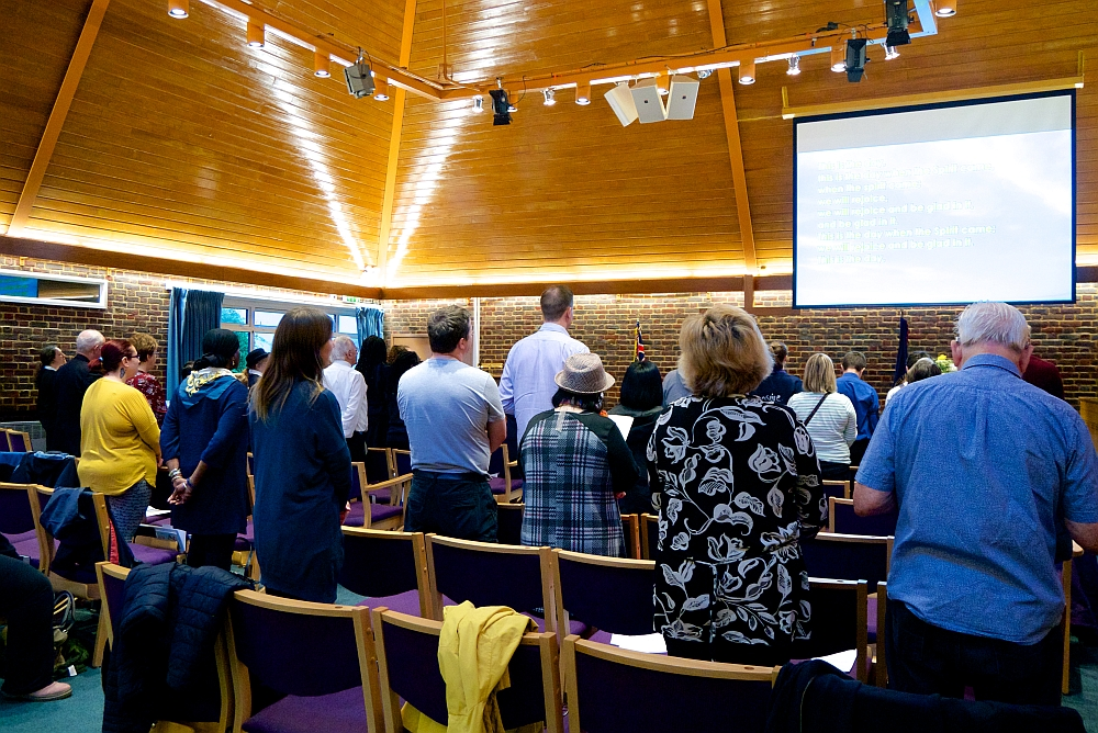 The congregation worshipping at Christ Church