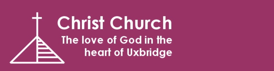 """An outline of a pyramid roof with a cross on the top and the text """"Christ Church - The love of God in the heart of Uxbridge"""""""