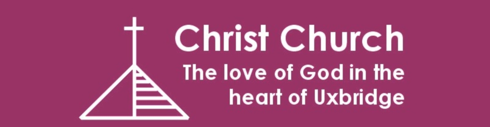 "An outline of a pyramid roof with a cross on the top and the text ""Christ Church - The love of God in the heart of Uxbridge"""