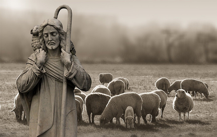 Jesus as the good shepherd with sheep in the background