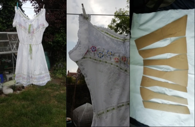 Three pictures showing a cotton chemise, a close-up of the cotton chemise and cardboard pieces cut out to make a corset