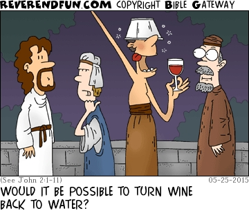 "A cartoon showing Jesus at a party with three guests - one of which seems tipsy and the caption ""Would it be possible to turn wine back to water?"""