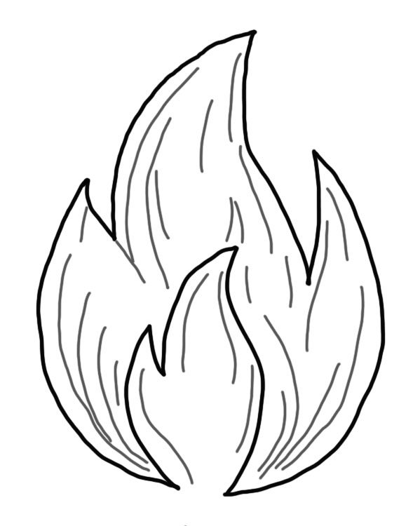 A black and white drawing of a flame
