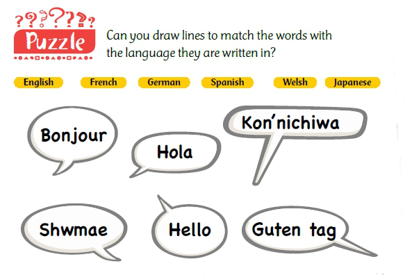 "Speech bubbles saying ""Bonjour"", ""Hola"", ""Kon'nichiwa"", ""Shwmae"", ""Hello"" and ""Guten Tag"" to match to each of the following languages: English, French, German, Spanish, Welsh and Japanese"