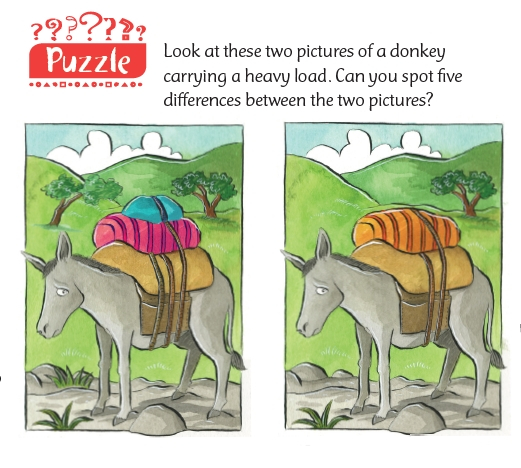 Two pictures of a donkey with backs on its back with five differences between the two pictures