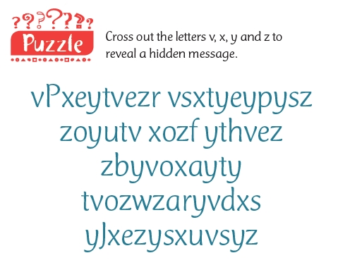 A word puzzle asking you to cross out certain letters to reveal a hidden message