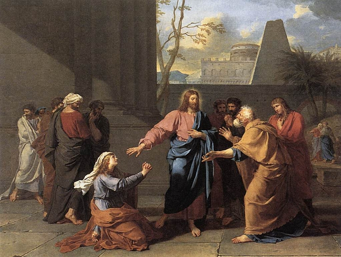 A painting depicting Jesus and his disciples with the Canaanite woman