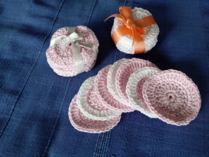 Pink and white crocheted make-up remover pads