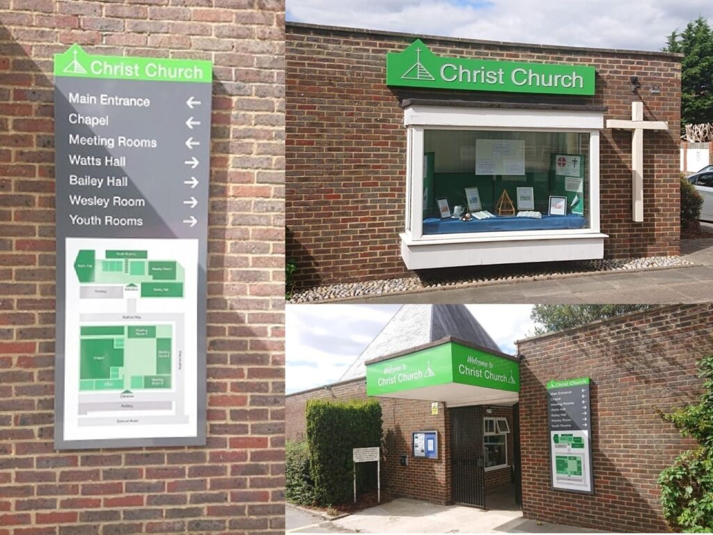 Three photos showing the new green signs above the entrance to the church; a board to show where the different buildings and rooms are; and the new sign above the window