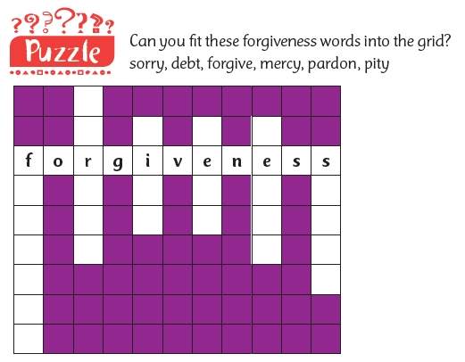 A puzzle to try and fit in words around the word 'forgiveness'