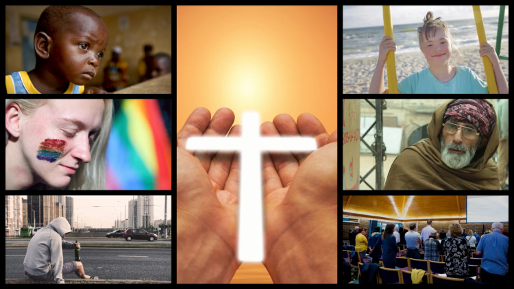 A collage of images depicting race, disability, gender/sexuality, poverty, mental illness and our church around a central image of hands holding a cross