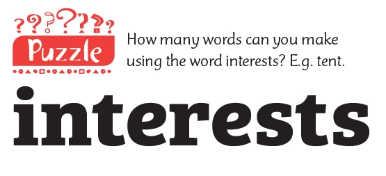The word 'interests' and the question 'how many words can you make using the word 'interests'?