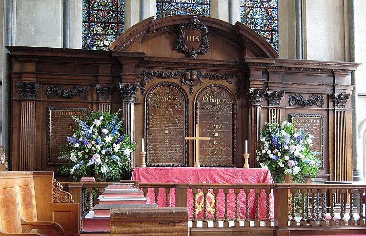 The ten commandments at the altar of a church