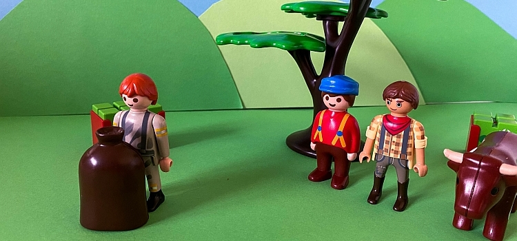 The prodigal son leaving his father and brother with his share of his inheritance recreated in Playmobil