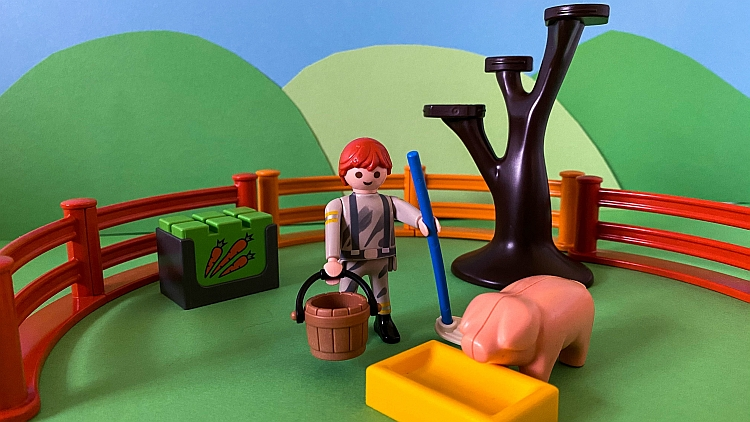 The prodigal son feeding the pigs recreated in Playmobil