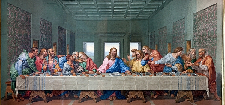 Mosaic of Last supper of Jesus by Giacomo Raffaelli from year 1816 as copy of Leonardo da Vinci work
