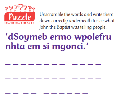 A puzzle with jumbled up words to unscramble