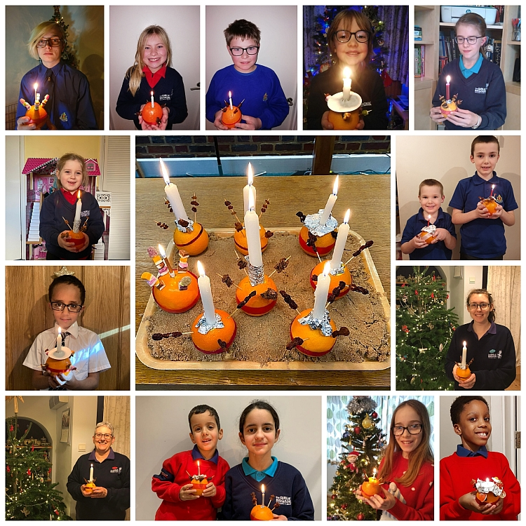 A collage showing members of the Boys' and Girls' Brigade holding their Christingles with a tray of Christingles in the centre