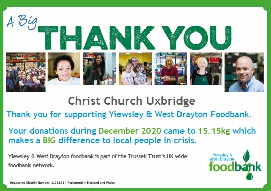 A thank you certificate from Yiewsley and West Drayton Foodbank