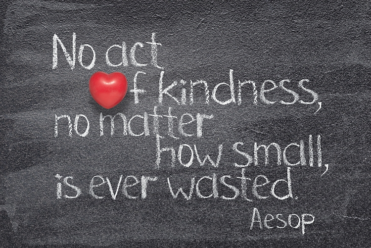 """No act of kindness, no matter how small, is ever wasted"" - quote of ancient Greek story teller Aesop written on chalkboard with red heart instead of O"