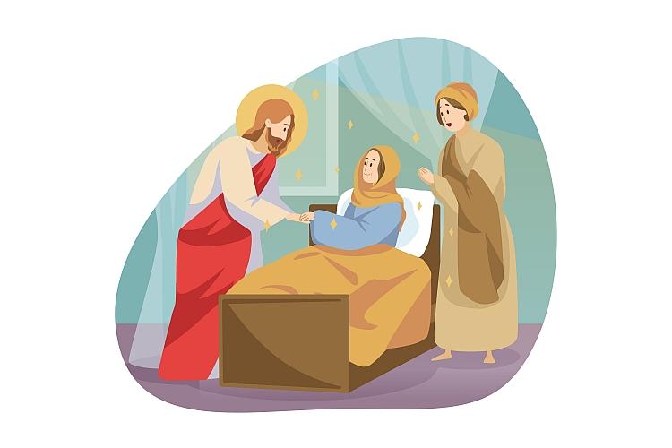 A cartoon drawing of Jesus healing a woman
