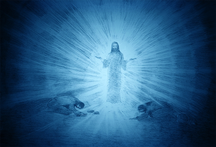 The transfiguration of jesus on the mountain and the two apostles