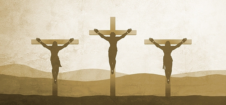 Jesus and the two criminals on the three crosses