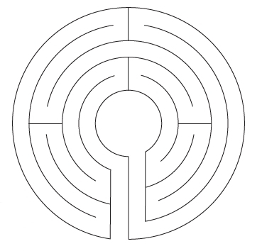 An outline of a labyrinth