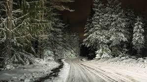 A picture of a snowy country lane
