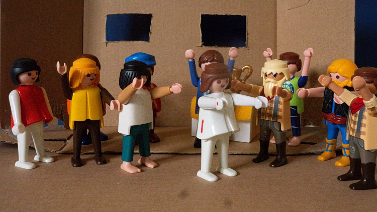 A Playmobil scene depicting the risen Jesus appearing to the disciples