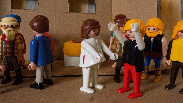 A Playmobil scene depicting the risen Jesus appearing to Thomas and the disciples