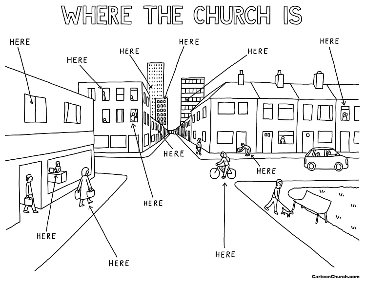 """A cartoon called 'Where the church is"""" showing an empty street with buildings and arrows pointing to people in the street and houses with 'church'"""