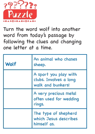 A word puzzle with clues to go from the word 'wolf' to other words, changing one letter at a time