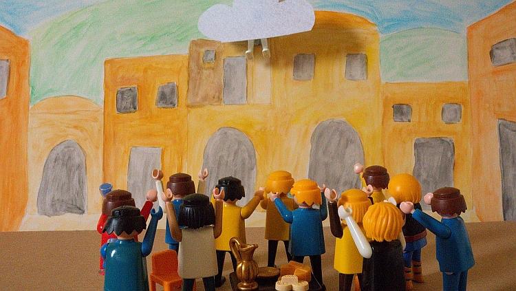 A Playmobil scene depicting Jesus's ascension to heaven