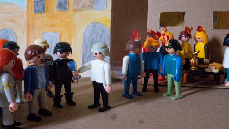 A Playmobil scene depicting the crowd and the discples on Pentecost