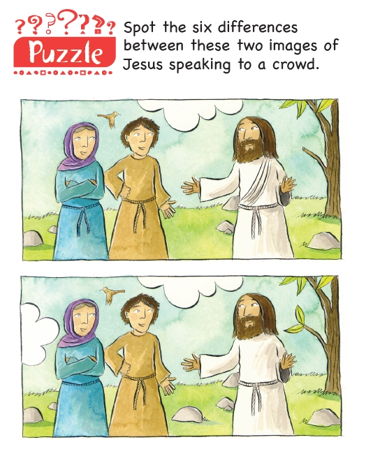 A sport the difference cartoon of Jesus talking to two disciples