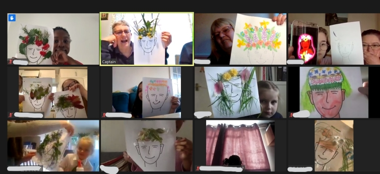 GB members holding up nature faces during a Zoom meeting