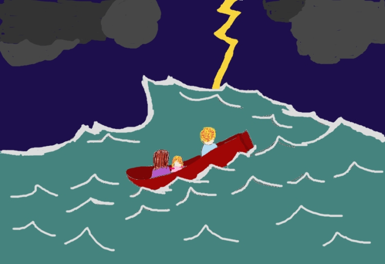 A drawing of three people in a boat on a stormy sea