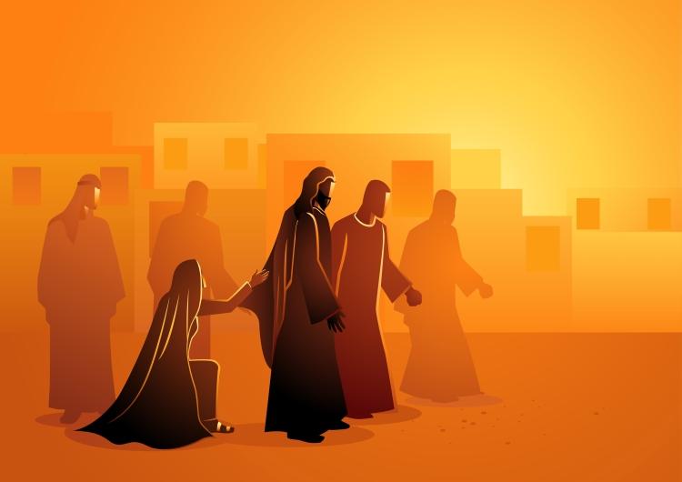 An illustration of the bleeding woman touching Jesus's cloak