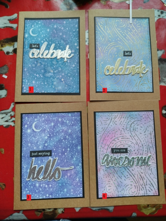 Four numbered hand-made cards with the following words on the front (1) Let's celebrate, (2) Let's celebrate, (3) just saying hello and (4) you are awesome