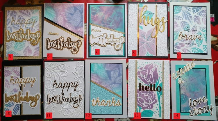 Ten numbered hand-made cards with text as follows: #5,6,7,10 and 11 - 'Happy birthday', #8 - 'gentle hugs', #9 - 'be brave everyday', #12 - 'thanks', #13 - 'hello' and #14 - 'create a love story'