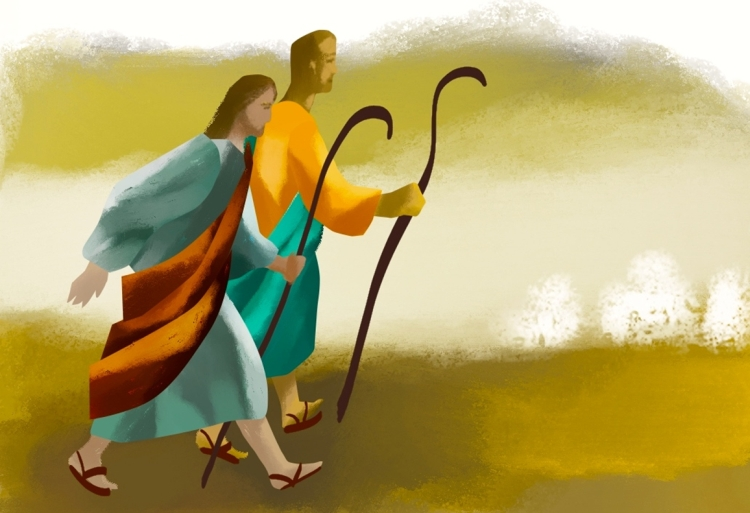 An artist's depiction of two disciples walking together