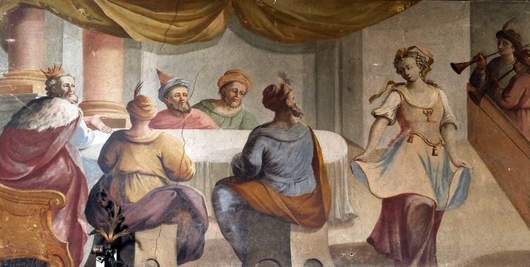 Herod's Banquet, fresco on the ceiling of the Saint John the Baptist church in Zagreb, Croatia