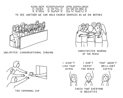 """A cartoon illustrating """"The test event to see whether we can hold church services as we did before"""" with the following illustrations: people crowded into a pew with the text """"unlimited congregation singing""""; a group hug with the text """"unrestricted sharing of the peace"""". people reaching towards a kitchen hatch with the text """"the communal cup"""" and people saying """"I didn't like that hymn"""", """"I don't enjoy the peace"""", """"that wasn't brilliant coffee"""" and the text """"check that everyone is negative"""""""