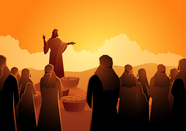Biblical vector illustration series, Jesus feeds the five thousand or feeding the multitude