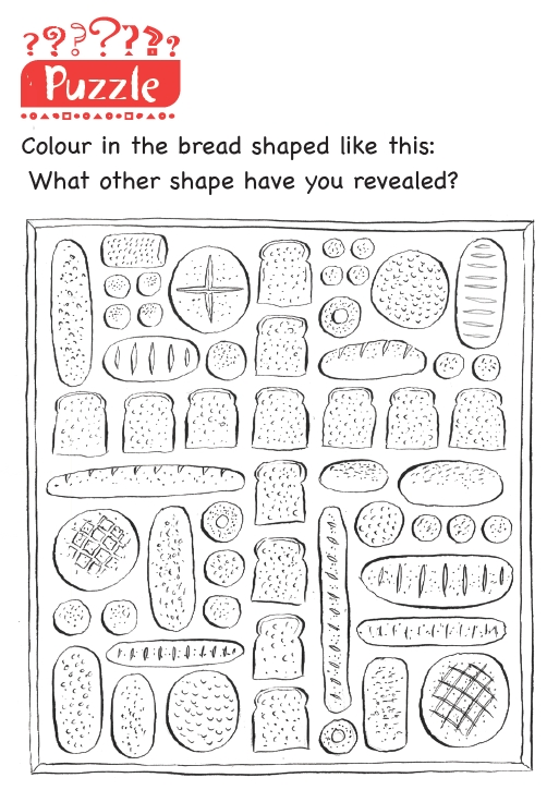 A puzzle to colour in certain shapes of bread and see what pattern is left