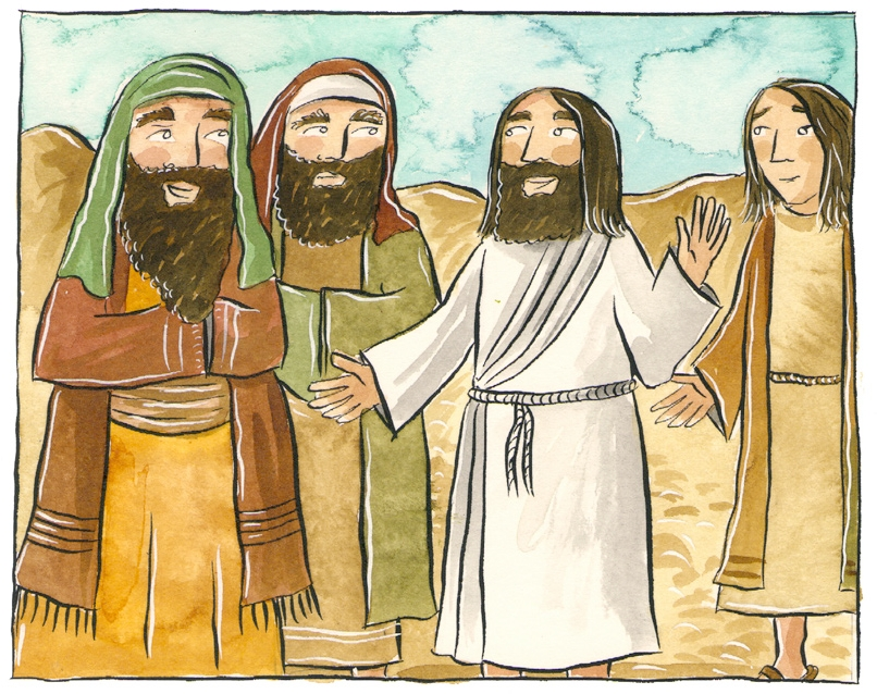 A spot the difference puzzle showing Jesus talking to three people
